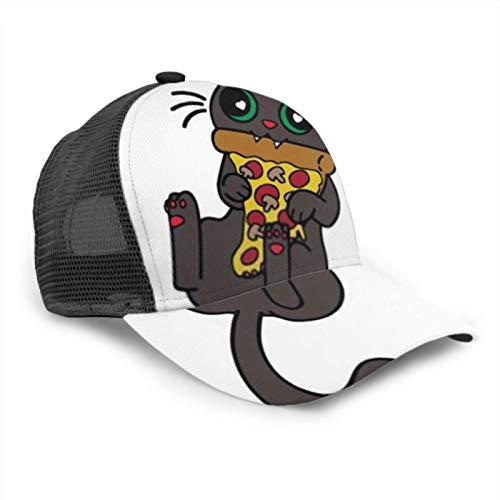 ZANSENG Gorra de béisbol Hombres Mujeres, Cat Eats Pizza Eating Tasty Vector Ajustable Trucker Mesh Summer Venture Baseball Sun Cap Hat Sombrero Lavadora para Gorras de béisbol