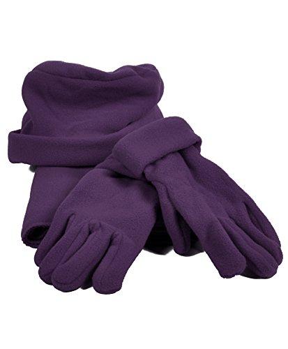 Solid Color Polyester 3 Piece Fleece Hat, Scarf & Glove Women's Winter Set (Purple)
