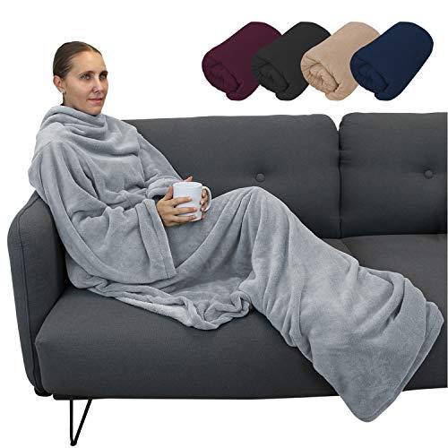 Vivezen ® Couverture polaire plaid intégral avec manches et poche - 2 tailles - 5 coloris - Norme CE