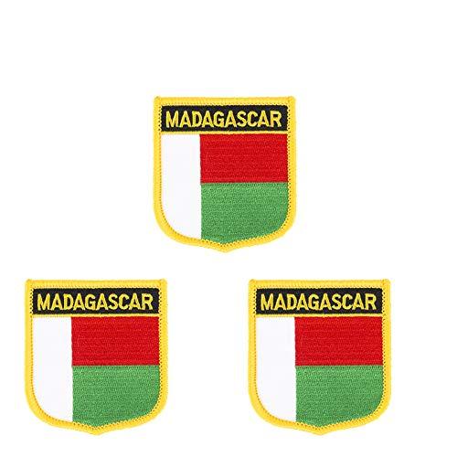 3 Stück Madagaskar-Flagge bestickt Shiled Form Aufbügler Applikation Aufbügler Aufnähen
