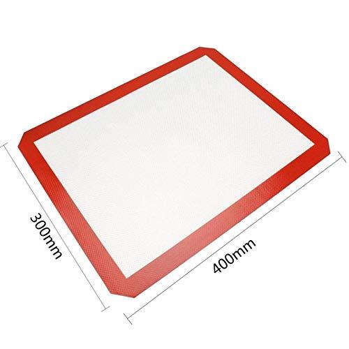Fijnere, niet-klevende siliconen bakmat Pad Sheet Baking gebak gereedschappen Rolling deeg Mat groot formaat voor Cake Cookie Macaron, rood L