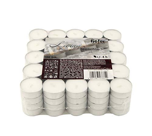 Hofer Velas de Té Tealights - 38 mm - Paquete de 100 piezas - 4 horas de tiempo de combustión - Color Blanco - Cera sin, Larga duración, Calidad de la UE