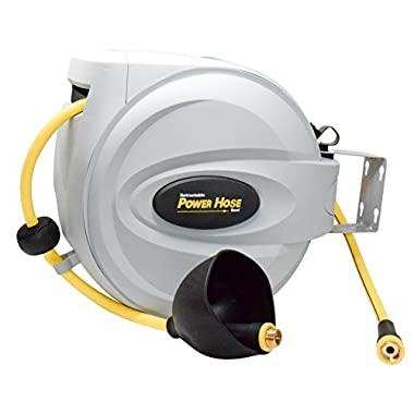 "Power Retractable Hose Reel 5/8"" x 50 ft, Super Heavy Duty, 500 PSI Burst Strength, 3 Layer Hybrid Hose"