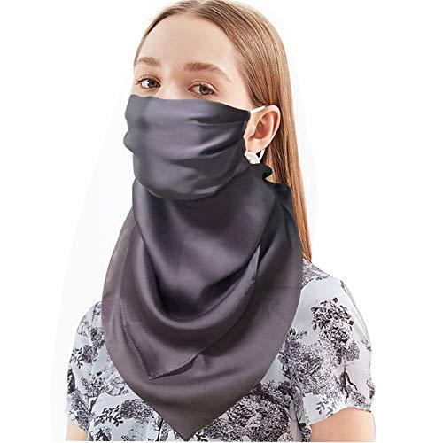 Bellonesc 100% Silk Scarfs UV Protection Face Scarfs Mask Hair Scarves Neckscarfs for Women(grey-z)