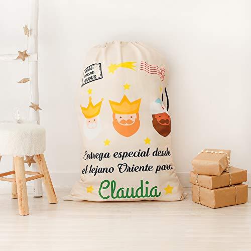 NANNUK Saco Reyes Magos Personalizado para Regalos Navidad (30 x 40 cm)