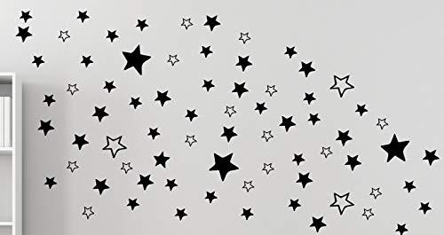 120 étoiles - Sticker mural autocollant, salon chambre à coucher, fenêtre B289 V noir