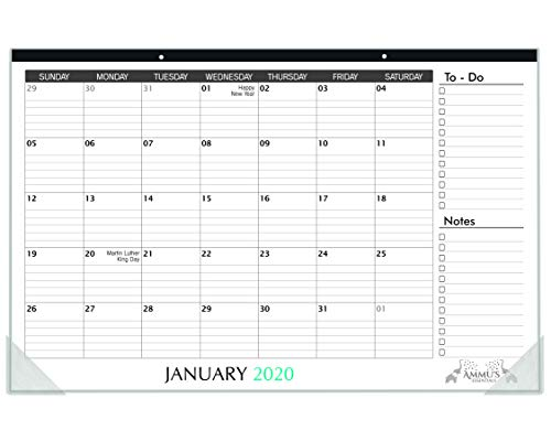 Ammus Essentials: Desk Calendar 2020 with Ruled Blocks and Notes, 11' x 17', January 2020 - December 2020 - Desk Pad for Office and Home