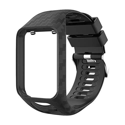 NICERIO Compatible para Tomtom 2 3 Bandas Correa de Reemplazo de Reloj de Silicona Pulsera de Grano Tallado Pulsera para Hombre Mujer