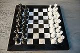 RADICALn Juego de ajedrez completo de mármol negro y blanco hecho a mano de 15 pulgadas con caja de almacenaje, juego de ajedrez de torneo de mármol de estilo regalo Staunton y embajador