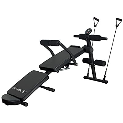DYNAMIC SE Sit Up Bench Adjustable with Waist Back Support and LCD Monitor Multi-Purpose Decline AB Bench for Full Body Workout