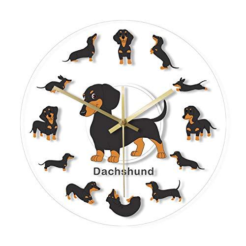 guijinpeng Wanduhren 30CM 12 Zoll Cartoon Dackel Hund gedruckt Wanduhr Wiener Welpe Tier Haustiere Store Dekorative Nicht tickende Wandkunst Uhr Hunde Tierärzte Geschenkohne Tickgeräusche