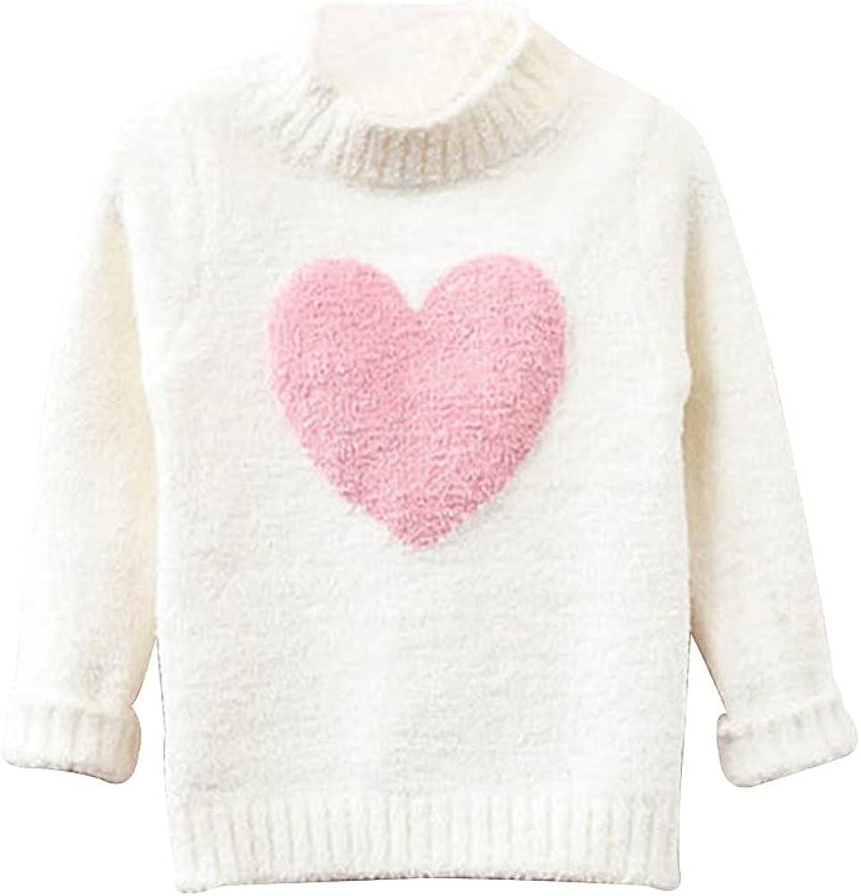 LittleSpring Little Girls Pullover Sweater Long Sleeve Heart Shaped Cute Warm