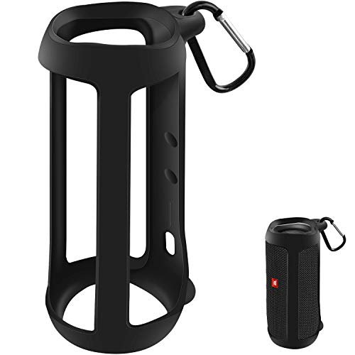 Protective Silicone Case Cover for JBL FLIP 5 Waterproof Portable Bluetooth Speaker with Carabiner(Not Fit for Flip 4)