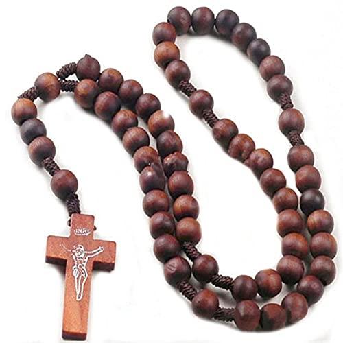 Collares con colgante de Rosario de Cruz antigua de madera religiosa, collar de Rosario católico de Jesucristo para hombres y mujeres, regalos de joyería