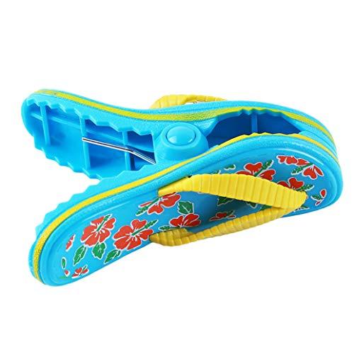 GOMYIE Gedruckte Kunststoff-Strandpantoffeln niedliche Hausschuhe Clip, blau