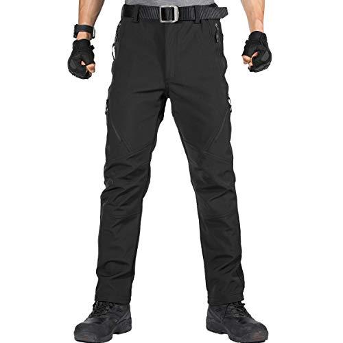 FREE SOLDIER Pantaloni da Lavoro da Uomo per attività All'aperto Pantaloni Softshell Sci Termici Impermeabile Pantaloni Trekking Invernali Pantaloni da Caccia(Nero,48)