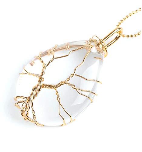 Halsketting met hanger levensboom in druppelvorm bergkristal, natuurlijk, sterkte en reiniging