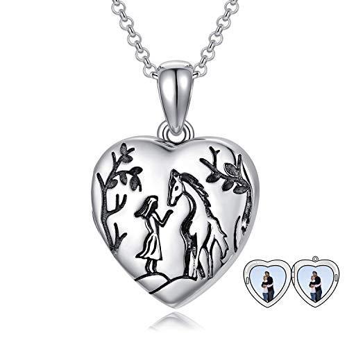 LONAGO Personalizado Medallón con Foto Collar Plata de Ley 925 ala del ángel Medallón de Corazón Ese Sostiene Imágenes Joyas de Collar