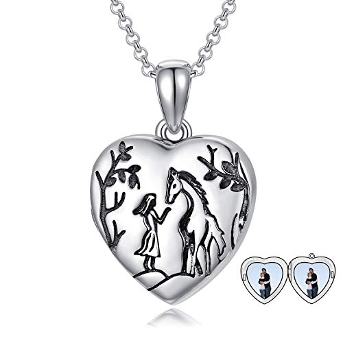 LONAGO 925 Sterling Silver Personalized Photo Locket That Holds Pictures Horse and Girls Heart Locket Pendant Necklace Jewelry (Only Locket)