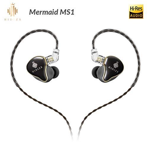 HIDIZS MS1 Cuffie Monitor In-ear, Cuffie Hi Res Audiophile Cablate, Auricolari IEM Hi-Fi a Diaframma Dinamico Con Cavo Rimovibile a 2 Pin da 0,78 mm (Nero)