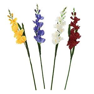 FLAMEER 4pcs Artificial Gladiolus Flowers Leaf Home Wedding Decoration Multi-Color