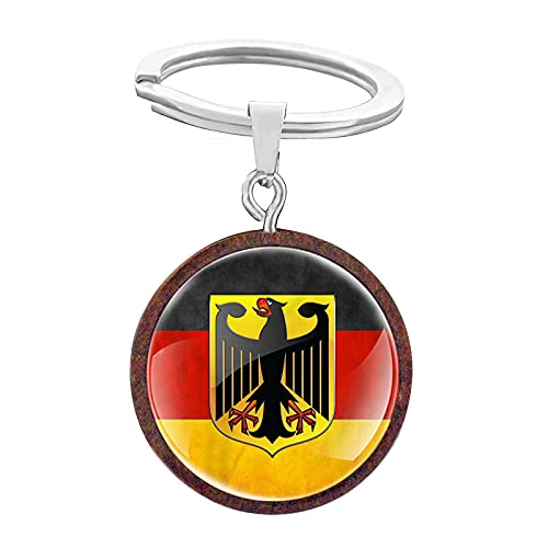TUDUDU Classic Vintage German National Emblem Design Glas Cabochon Holz Schlüsselanhänger Charme Männer Frauen Schlüsselanhänger Schmuck Geschenke Schlüsselanhänger