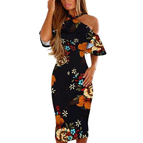HCFKJ Robe Femme Ete Robe De Plage Longue Robe De Soiree Femme Chic Casual Imprimer Floral sans Manches Dos Robe Princesse Robe (L, Multicolore)