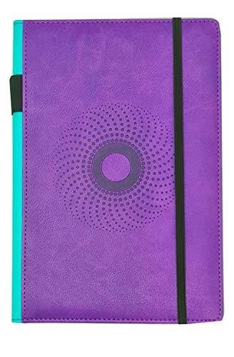 EJRange PU Leder A5-Notizbuch - Mittelgroßer A5-Notizblock, mit Notizbuch ausgekleidete Seiten, Stifthalter, Lesezeichen, elastischer Verschluss, Innentasche, geprägtes Design, farbige Ränder (lila)