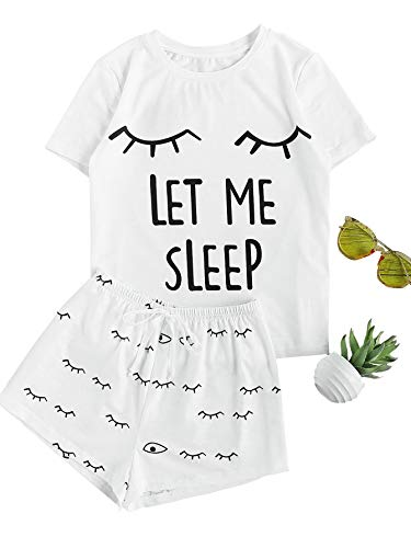 DIDK  Damen Cartoonmuster Top und Short Zweiteilig Sleepwear Pyjama Set, L, Muster-7