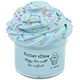 SEVENTHREE Butter Slime Mint Blue Leaf Slime Putty Stress Relief and Scented Sludge Toy for Adults and Kids Stretched and Safe Without Non-Sticky Slime 7oz 200ml