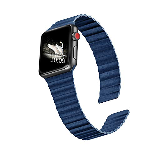 LKEITY Compatible for Apple Watch Band 44mm 42mm Leather Loop, Strong Magnetic Leather Strap WristBand for iWatch Series 5/4/3/2/1 Women Men (Color Blue)