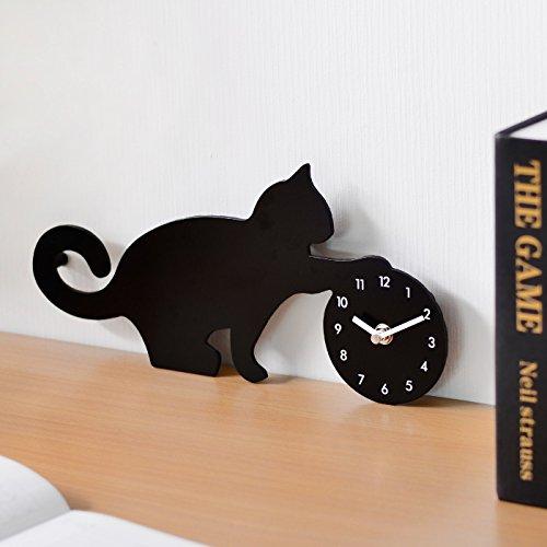 ねこのシルエット 掛け 時計 WALL CLOCK 台湾製 MAKINOUデザイン (ボール遊び)