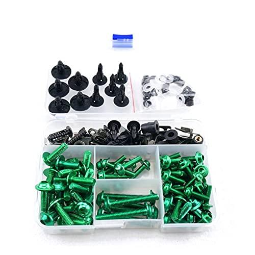ZHUSHANG SHUANGX FIT FOR para Yamaha YZF R6 1998 1999 2000 2001 2002 FZR1000 1991-1995 CNC Aleación de aleación Completa Pernos de carenado Kit Nuez Cuerda Bodywork Tornillos Clip (Color : Green)