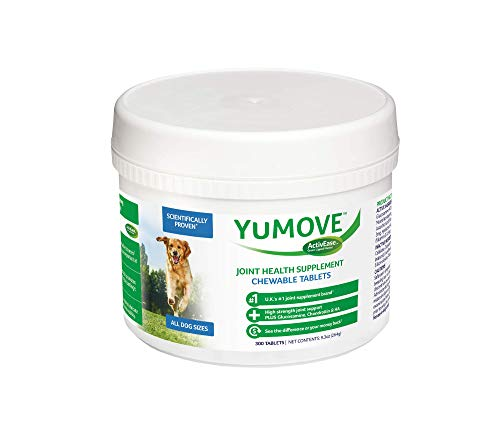 Lintbells YuMOVE Glucosamine for Dogs Hip and Joint Supplement for Stiff Dogs Green Lipped Mussel and Omega 3 - Natural Relief from Hip Ache, Stiff Joints - 300 Chewable Tablets