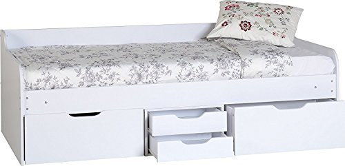 Dante Day Bed - Underbed Storage - Wood with White Finish - Single by Seconique
