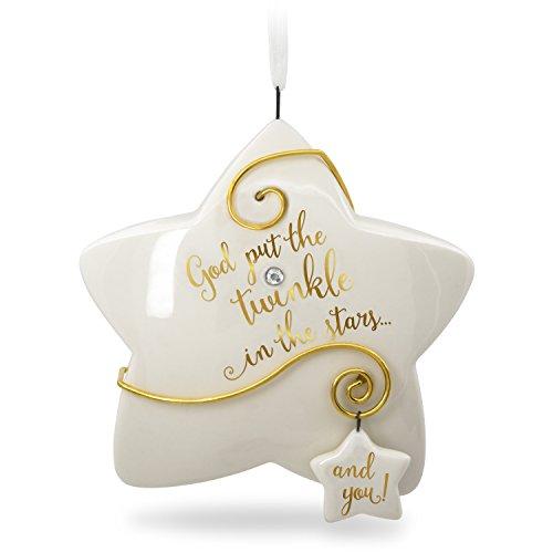 Hallmark 2018 Godchild Porcelain Ornament, White, Gold