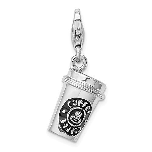 3 D Sterling Silber Emaille To Go Kaffeetasse mit Karabinerverschluss, für Anhänger, Maße: 28 x 10 mm