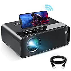 "Image of Mini Projector for iPhone, ELEPHAS 2020 WiFi Movie Projector with Synchronize Smartphone Screen, 1080P HD Portable Projector with 4600 Lux and 200"" Screen, Compatible with Android/iOS/HDMI/USB/SD/VGA: Bestviewsreviews"