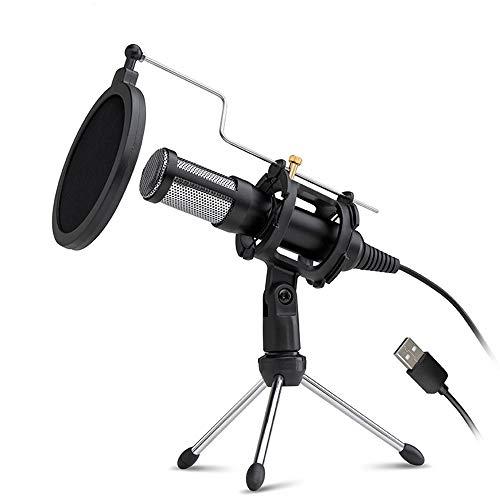 Sunbaca Microfone condensador profissional USB Plug and Play Home Studio Podcast Microfones de gravação vocal com Mini MIC Stand Filtro acústico de camada dupla para telefone, laptop, PC, tablet #D