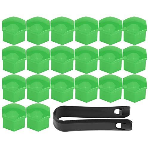 Qqmora 20 Piezas Cubiertas de Cubo de Rueda Perno de Tuerca de Tuerca Cubierta de Tornillo Tapa de protección de neumáticos Piezas de Repuesto de Accesorios de automóvil Universal(Verde)