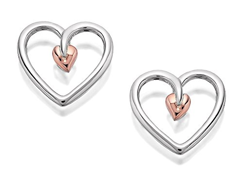 Clogau Silver 9ct Rose Gold Tree Of Life Heart Stud Earrings 10mm Women Jewelry