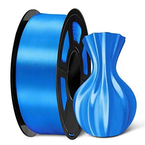 Filamento per stampante 3D in seta lucida SUNLU PLA Plus 1,75 mm, filamento in PLA+ in seta blu 1,75 +/- 0,02 mm Bobina da 1 kg per stampante 3D FDM