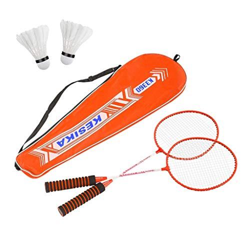 Blingko Badminton Set Federballspiel Federball 2 Schläger mit 2 Federbälle ideal für für Kinder Familie Erwachsene Urlaub Garten Strand, Badmintonschläger Set (Orange)
