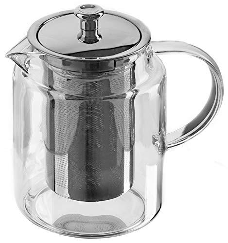 GGC Teekanne/Teezubereiter aus Glas mit Infuser Siebeinsatz (Edelstahlsieb) und Deckel I Glaskanne/Teebereiter ist ideal für Teeservice mit losem Grün- und Schwarz Tee geeignet I 1 Liter Glaskaraffe