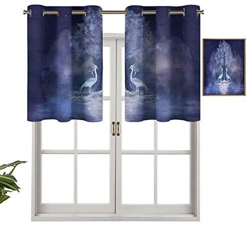 Cenefa de cortina para interiores y hogares, fabulosas garzas y árboles, en agua viva, criatura mítica ilusoria de ensueño, juego de 1, 132 x 45 cm para baño y café