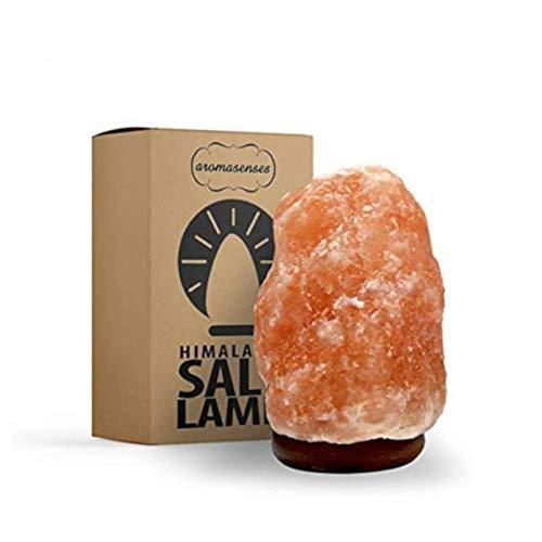 AROMASENSES Lámpara de Sal del Himalaya (2-3 kg) con Base de Madera, Cable y Bombilla - Natural 100% - Hecha a Mano.