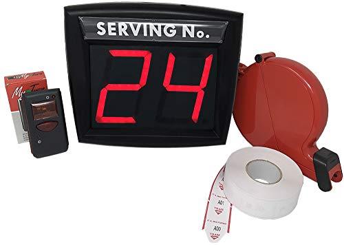 Myturn - Sistema de eliminación de Colas Rojo, sin Cables, Radio inalámbrico, Kit Completo, Pantalla de Dos dígitos, Mando a Distancia, dispensador de Etiquetas