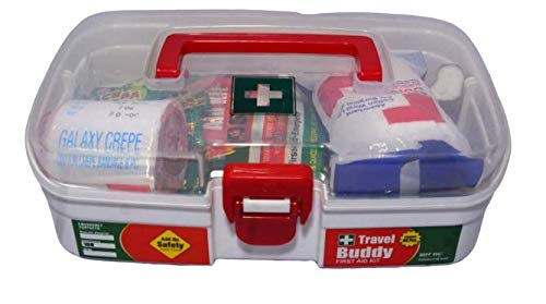 Tool Zone Travel Buddy Plastic First Aid Kit With Medicines useful for Domestic and Industrial use (Content -64 Pcs of Medicines with Plastic Milton Box) (1 Pc- White)