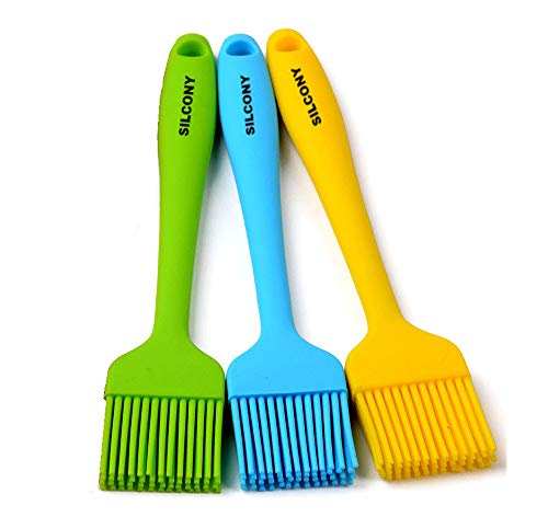 Silcony brush3 Heat Resistant Silicone Basting Pastry Brushes, Assorted Colors, 8.4 Inches, Set of 3