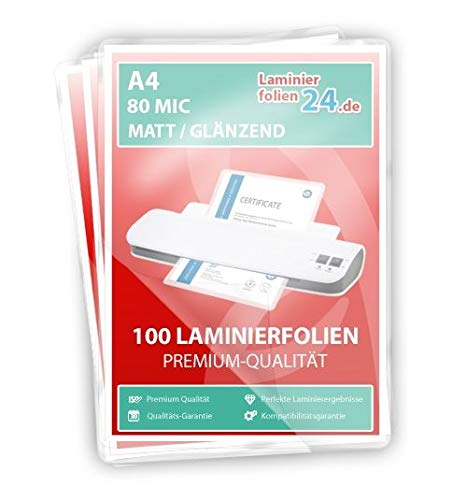 XLam Laminierfolien A4-2 x 80 Mic - matt/glänzend - 100 Stück- PREMIUMQUALITÄT FÜR PERFEKTE LAMINIERERGEBNISSE